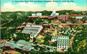 Yates Shaft Mills & Shops Homestake Mining Co Lead South Dakota Linen Postcard