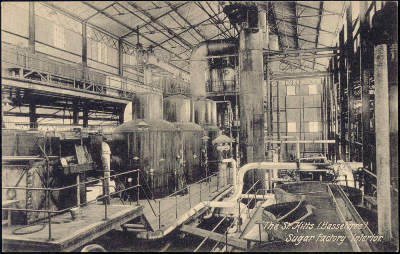 st. kitts, BASSETERRE, Sugar Factory Interior (1910s)