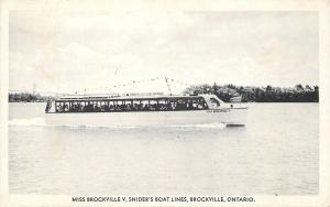 Brockville Ontario~Snider Boat Lines~Miss Brockville V Excursion Boat~1950s B&W