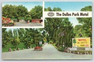 The Dalles Oregon~Park Motel~Shaded Drive~Garages~1950 Linen Postcard