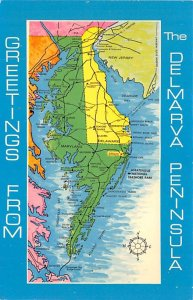 Maps Delmarva Peninsula Maryland, USA Writing on back