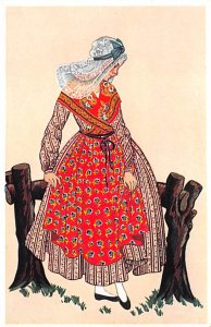 Native Costume Post Card La Normandie France Unused