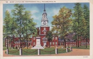 Barry Statue And Independence Hall Philadelphia Pennsylvania