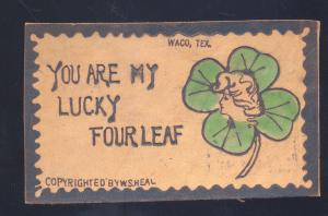 ANTIQUE VINTAGE LEATHER POSTCARD WACO TEXAS FOUR LEAF CLOVER FACE IN