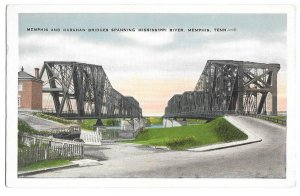 Memphis and Harahan Bridges Spanning Mississippi River, Tennessee, unused Kropp