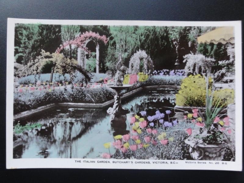 Canada: Victoria B.C. The Italian Garden, Butchart's Gardens, RP Old Postcard