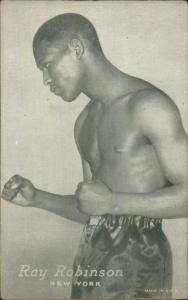 Black American Boxing Boxer Ray Robinson of New York Exhibit Card