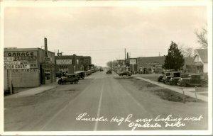 Vintage RPPC Ogallala Nebraska Lincoln Highway Street View - Cars - Great Signs