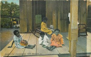 Black Americana 1909 Postcard New Orleans Four Little Pickaninnies