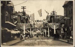 Cumberland MD Baltimore St. Decorated Home-Coming 1912 Real Photo Postcard