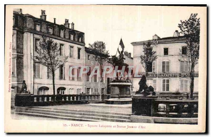 Old Postcard Nancy Lafayette Square statue Joan of Arc