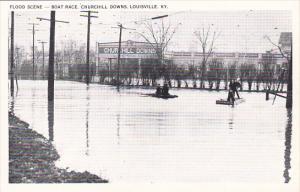 Kentucky Louisville 1937 Flood Scene Boat Race Churchill Downs
