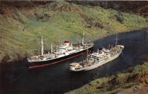 7796 Panama Canal  Channel At Culebra Cut,  two ships passing in Canal