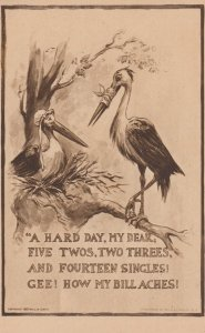 Male stork with bandaged beak talking to female stork, 00-10s