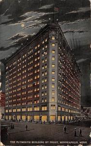 Minn. Minneapolis, The Plymouth Building by Night, auto car, moonlight 1914