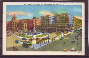 P1477 1952 used postcard lafayette sq main st. old cars people buffalo ny