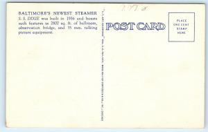 *Wilson Line Steamer S.S. Dixie Chesapeake Bay Baltimore MD Vintage Postcard B77