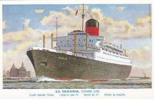 S.S. Saxonia, Cunard Line, 21,637 Tons, Length 608 Feet, Beam 80 Feet, Speed ...