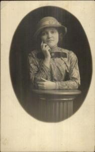 Woman in Great Hat & Blouse Studio Pose c1910 Fashion Real Photo Postcard