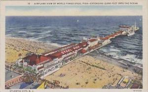 New Jesrey Atlantic City  Air Plane View Of World Famed Steel Pier Extending ...