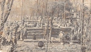 Cassopolis Michigan building Cass Co Pioneer log cabin antique pc ZE686126