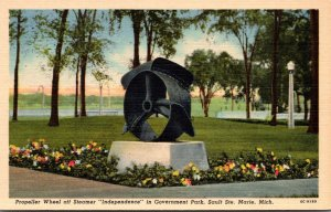 Michigan Sault Ste Marie Government Park Propeller Wheel Off Steamer In...