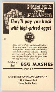 Cedar Rapids IA~Carpenter Johnson~Pillsbury Egg Mashes~Pamper Pullets
