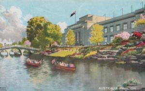 Australia Pavillion 1924 Empire Exhibition Boats Arriving Antique Postcard