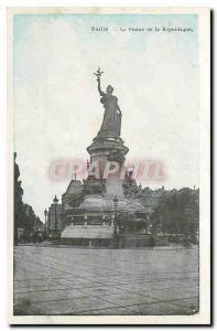 CARTE Postale Old Paris Statue of the Republic