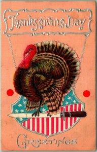 Vintage THANKSGIVING Day Greetings Embossed Postcard Patriotic Turkey - 1911