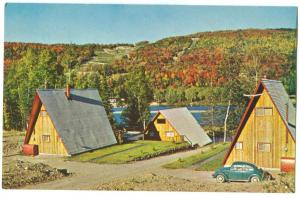 Canada, Houses in the Laurentian Mountains, Quebec, with Volkswagen Car Postcard