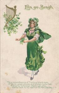 St Patrick's Day Greetings - Irish Lass and Celtic Harp - Erin Go Bragh - DB