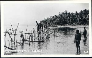 Solomon Islands, SAVO ISLAND, Native Fishermen Fishing (1950s) RPPC