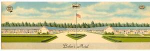 Bifold Postcard ; Baker's Motel , NORWICH , Ohio , PU-1953