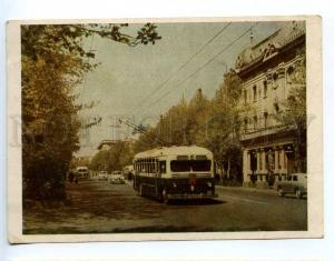221174 USSR 1953 GEORGIA Tbilisi trolleybus RPPC gluing stamp