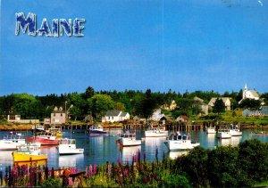 Maine Beautiful Harbor Scene With Fishing Boats