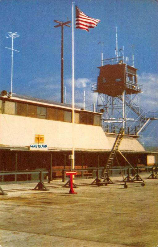 Wake Island Micronesia Terminal Building Street View Vintage Postcard K90550