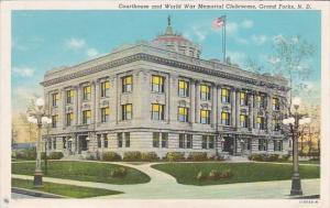North Dakota Grand Forks Court House and World War Memorial Clubrooms 1944 Cu...