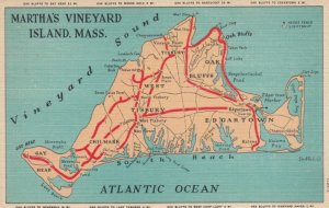 MARTHA'S VINEYARD ISLAND, Massachusetts, 1930-40s; Map