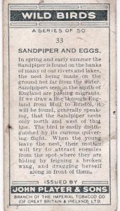 Cigarette Cards Player's Wild Birds No33 Sandpiper and Eggs