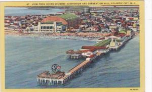 New Jersey Atlantic City View From Ocean Showing Auditorium and Convention Ha...