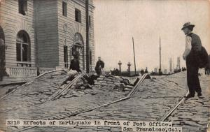 Effects of Earthquake in Front of  Post Office, San Francisco, CA, Unused Card