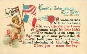American Flags Cupid Love Code French German 1910 Postcard 20-5665