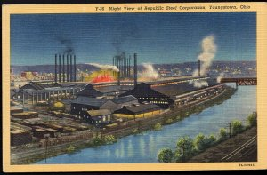 Ohio YOUNGSTOWN Night View of Republic Steel Corporation - LINEN