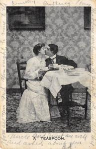Valentine's Day Romantic 1907 Postcard A Teaspoon Lovers Kiss Over Cup Of Tea