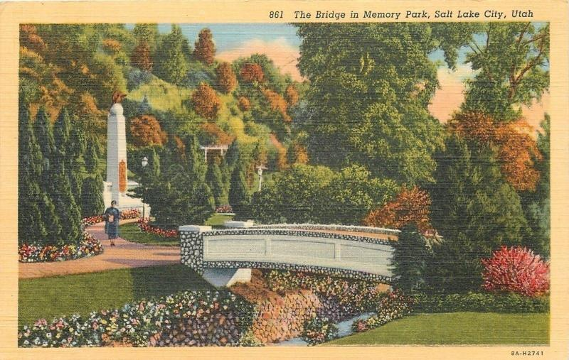 Salt Lake City UT~Bridge in Memory Park and Memorial~Autumn Trees 1938 Postcard