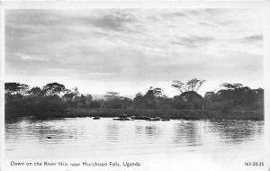 B84734 dawn on the river nile near murchison falls  uganda