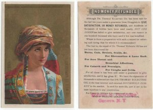 Vintage Dr. Thomas Electric Oil Trade Card, Woman Wearing Colorful Native Dress