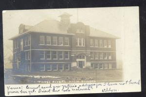 RPPC THREE RIVERS MICHIGAN HIGH SCHOOL BUILDING VINTAGE REAL PHOTO POSTCARD