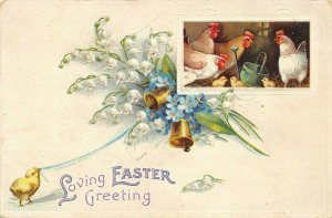 Clapsaddle Easter~Chick Pulls Bells in Lily Valley~Hens & Chicks in Barn~Emboss